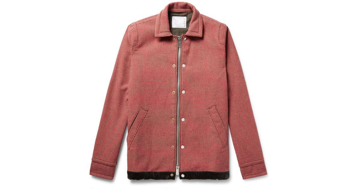 Lyst - Sacai Suede And Velvet-trimmed Wool-blend Tweed Jacket in Pink for  Men