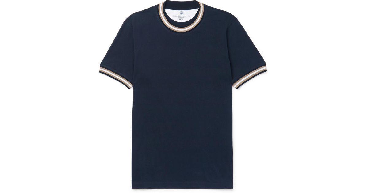Brunello Cucinelli Slim-fit Stripe-trimmed Cotton-jersey T-shirt - Navy glbeI