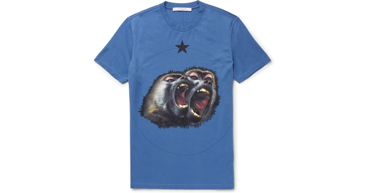96d2afeb Givenchy Monkey Brothers Cuban-fit Printed Cotton-jersey T-shirt in Blue  for Men - Lyst