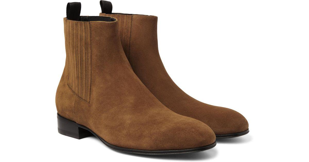 Balenciaga Suede Chelsea Boots in Tan