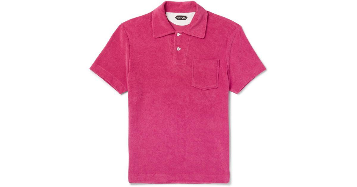 Tom Ford Cotton-terry Polo Shirt - Pink gF1U73