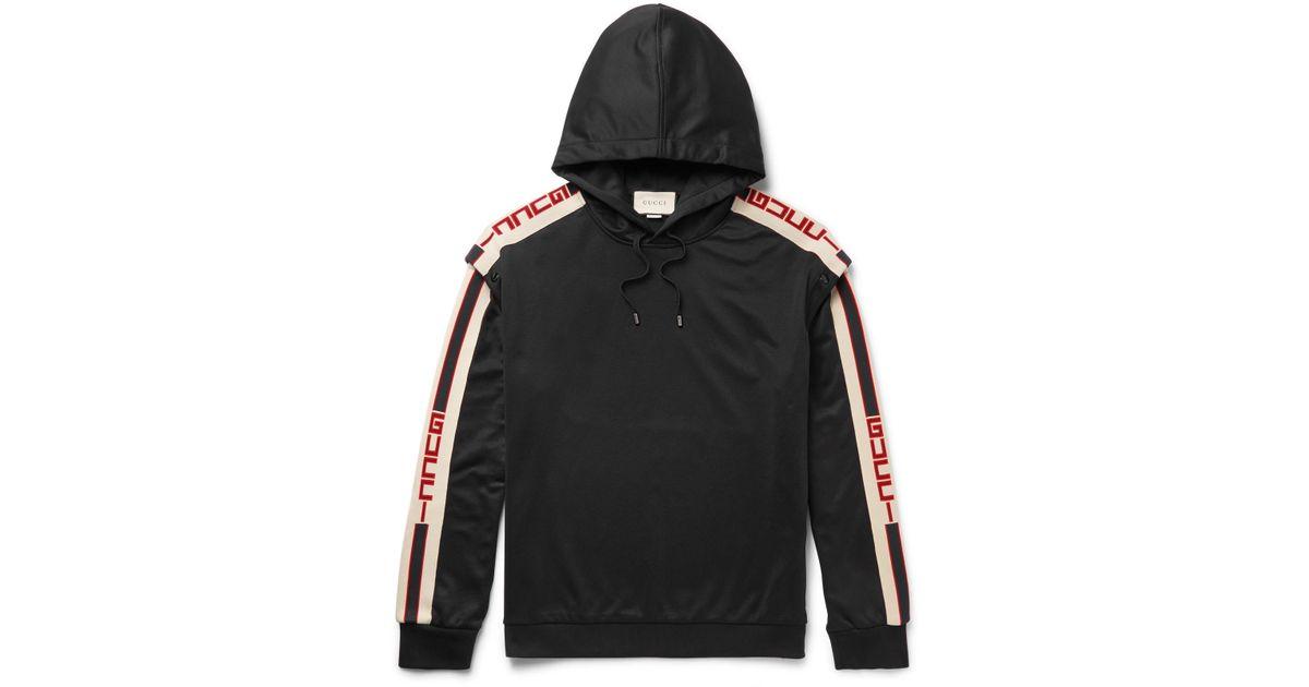 93d79f4fd Gucci Webbing-trimmed Tech-jersey Hoodie in Black for Men - Lyst