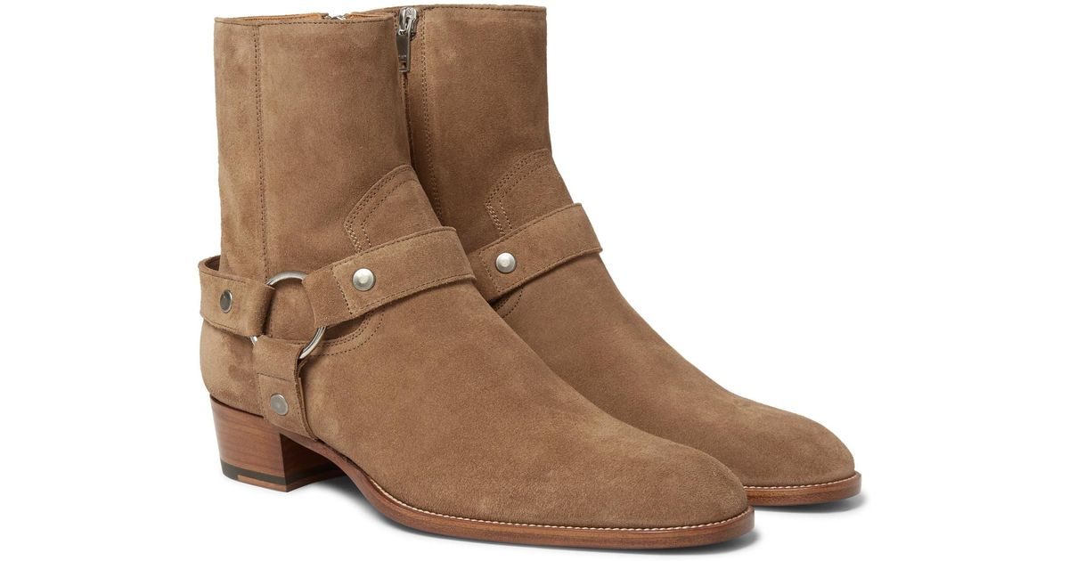 eceff40571e Saint Laurent Brown Wyatt Suede Harness Boots for men