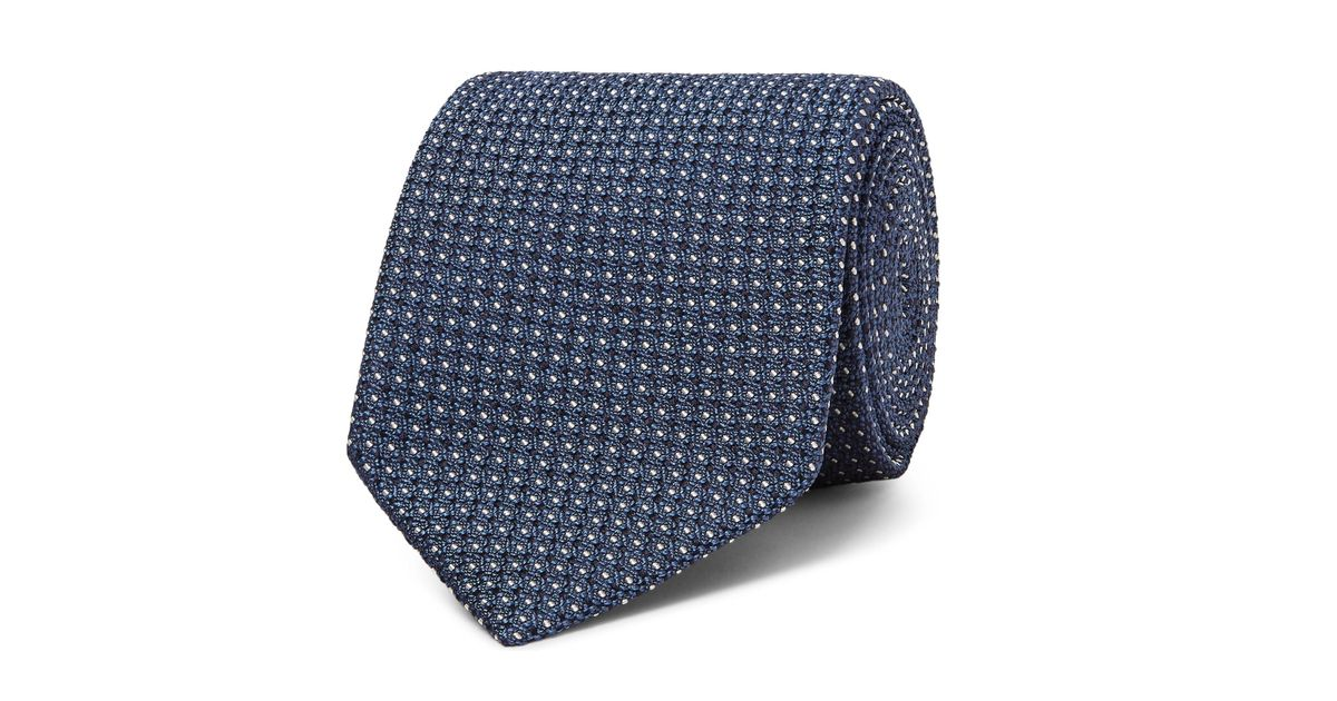 4831620f7a Tom Ford Blue 8cm Pin-dot Silk-blend Jacquard Tie for men