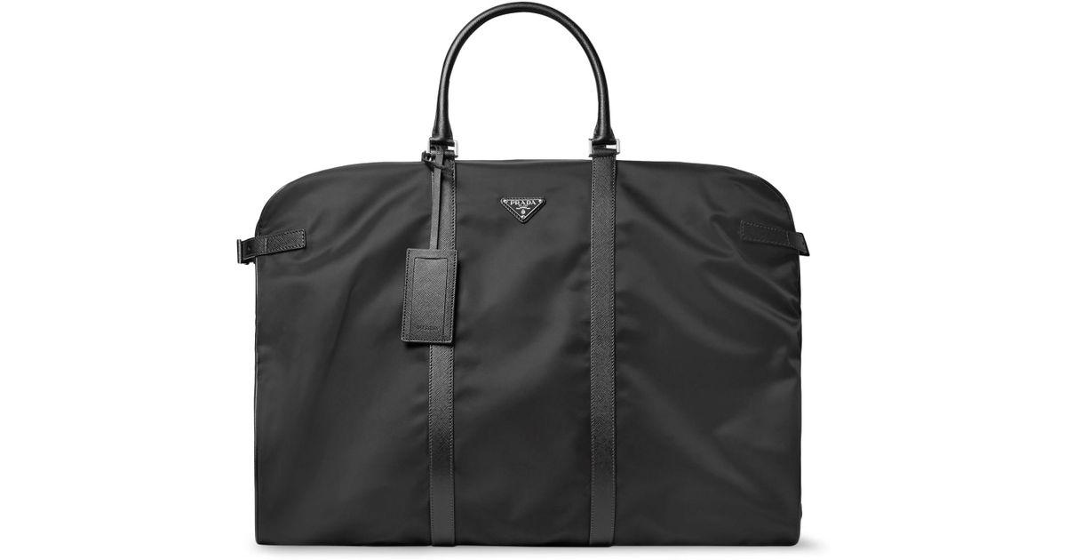 88e66cb070 Prada Black Saffiano Leather-trimmed Nylon Garment Bag for men