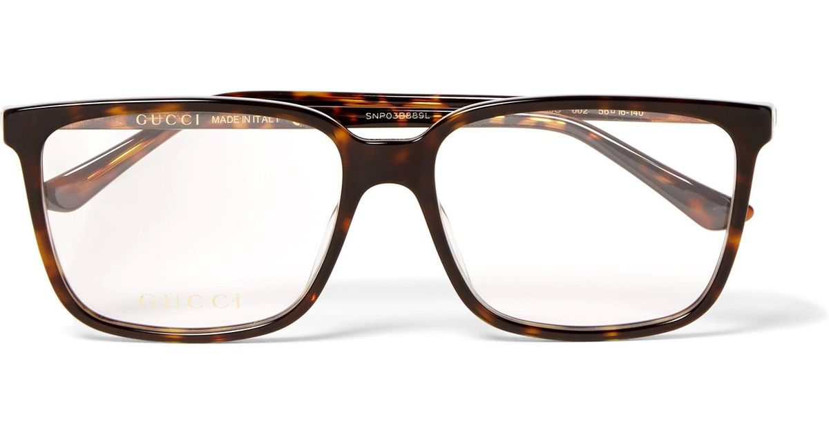 e37465d6ca9ad Gucci Square-frame Tortoiseshell Acetate Optical Glasses in Brown for Men -  Lyst