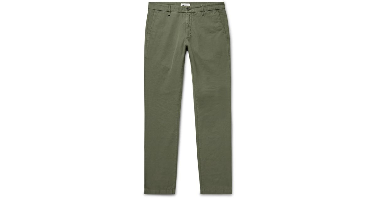 Lyst - NN07 Karl Slim-fit Cotton And Linen-blend Trousers in Green for Men 890a48b79d05a