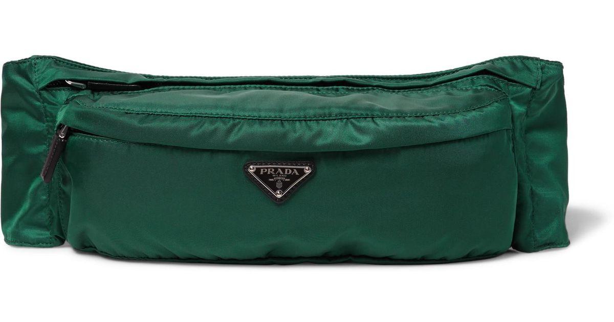 db2abd7b3c4e ... 50% off australia lyst prada leather trimmed nylon belt bag in green  for men 02255