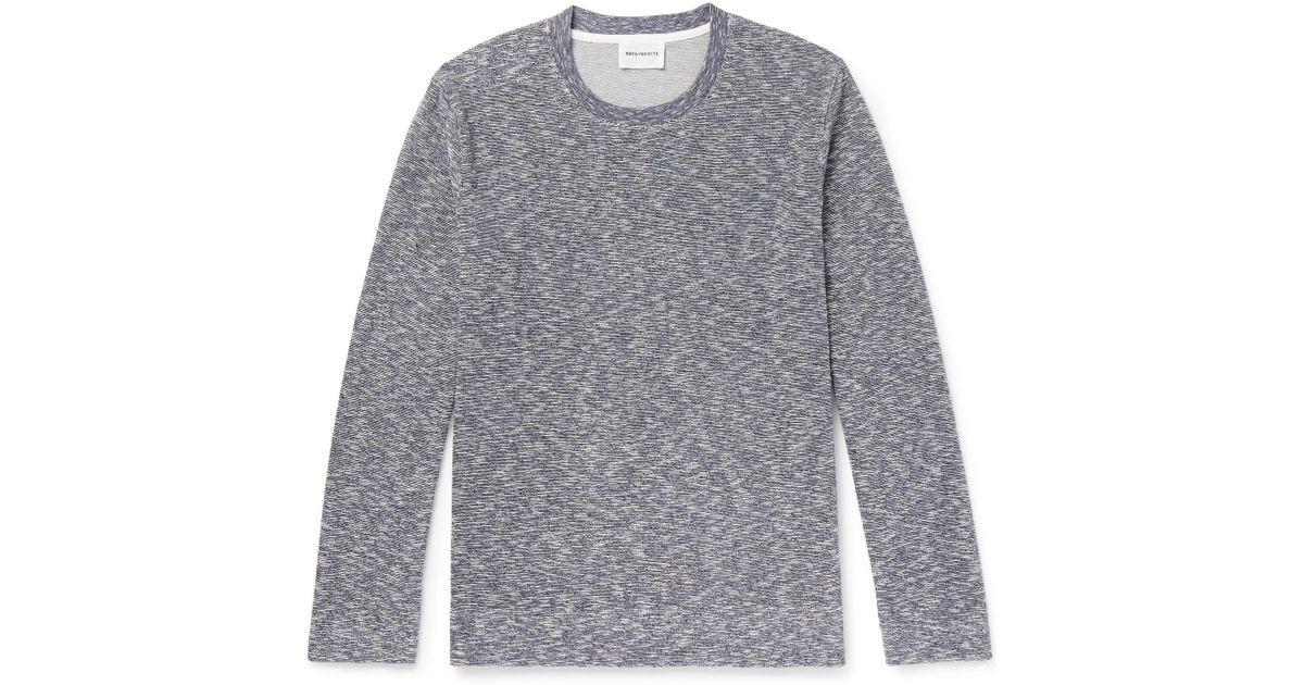 Norse projects Runi Mélange Cotton-blend Terry Sweatshirt - Blue PuZKDc