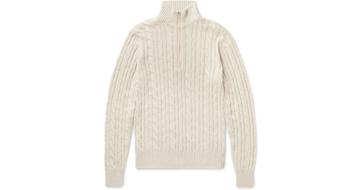 fdcad1d151df Loro Piana Suede-trimmed Cable-knit Baby Cashmere Half-zip Sweater ...