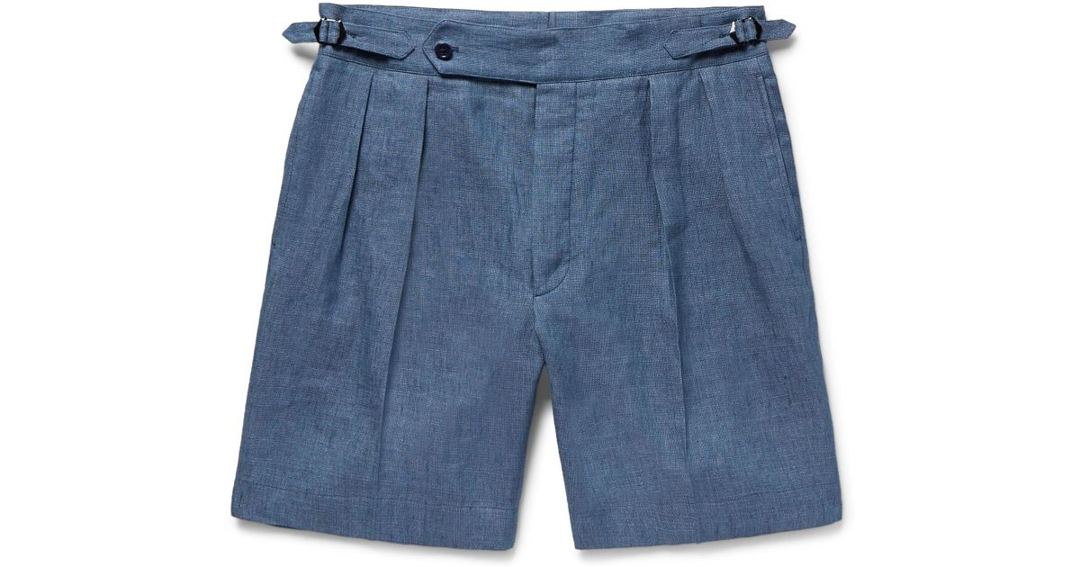 ea03fe442ad Ralph Lauren Purple Label Blue Pleated Linen And Mulberry Silk-blend Shorts  for men