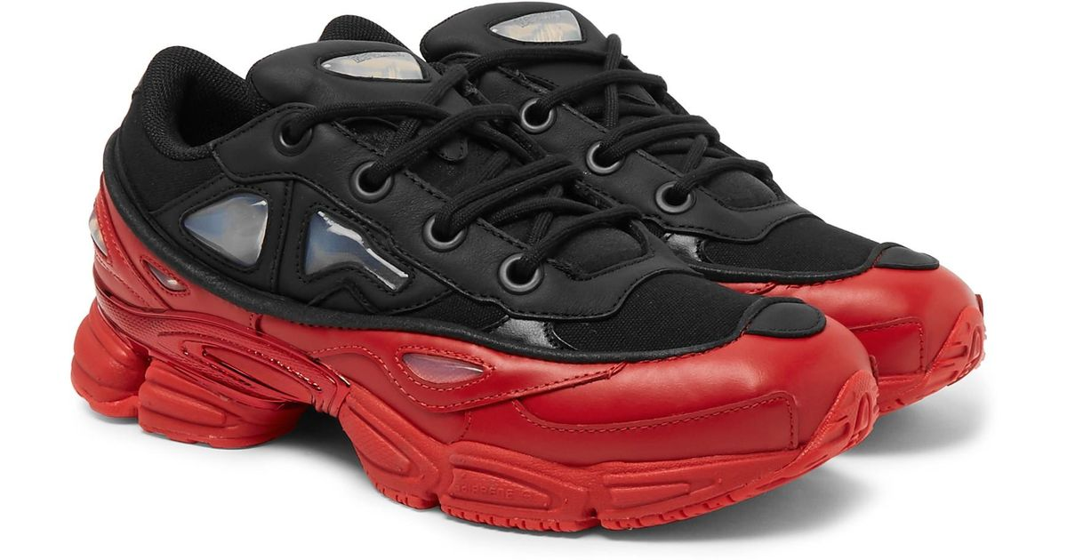 super popular 3649d 3f7c4 Raf Simons Black + Adidas Ozweego Iii Leather And Mesh Sneakers for men