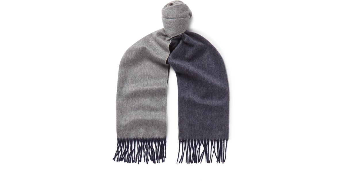 edf93a440b0 Lyst - Begg   Co Arran Fringed Two-tone Cashmere Scarf in Blue for Men