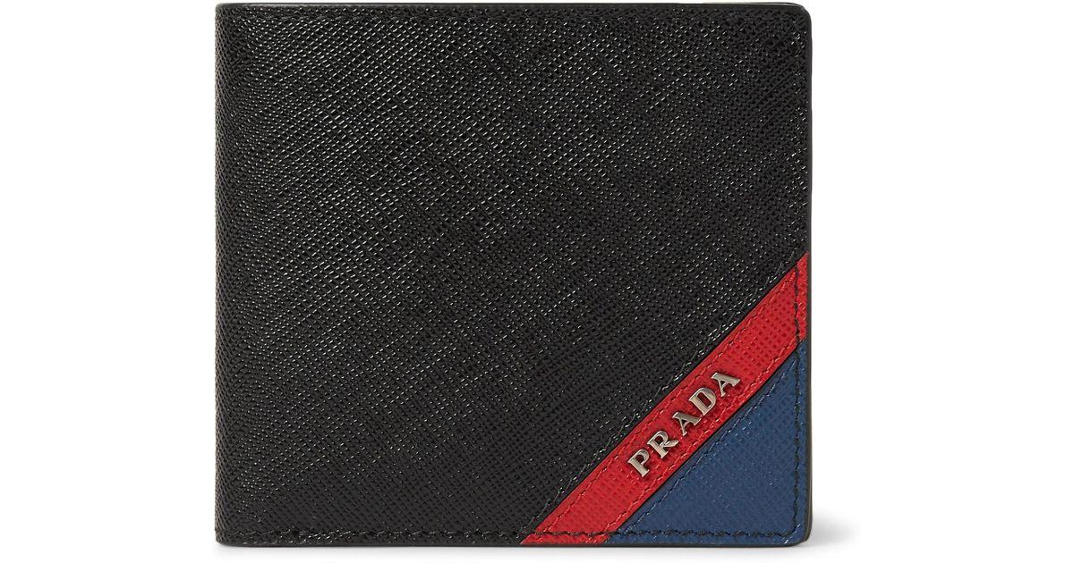 a33529600856 Prada Colour-block Saffiano Leather Billfold Wallet in Black for Men - Lyst
