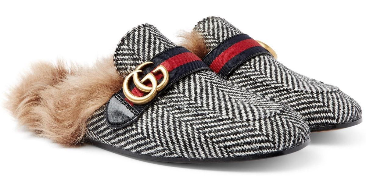 9b1517a17a8 Gucci Princetown Shearling-lined Herringbone Wool Backless Loafers in Black  for Men - Lyst