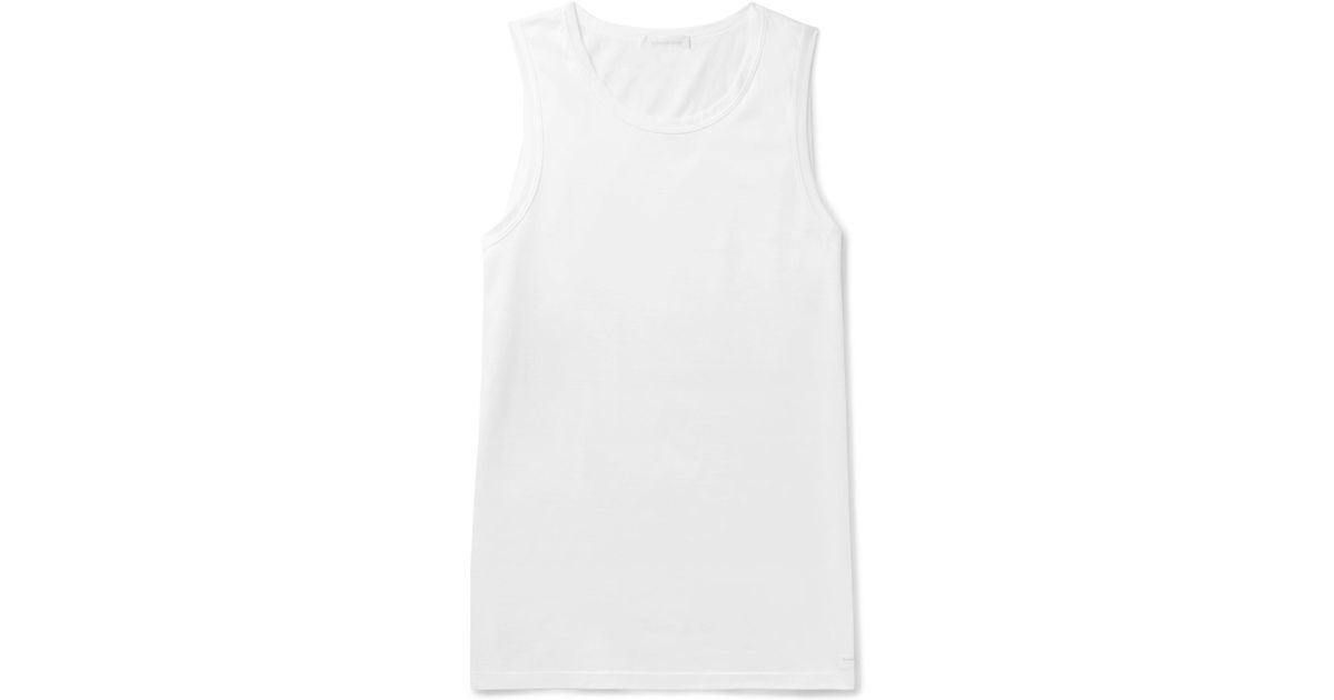 Nicekicks Bon Marché Vente Pas Cher Vraiment Ermenegildo Zegna Cotton-jersey Tank Top - White MkBkH3Q
