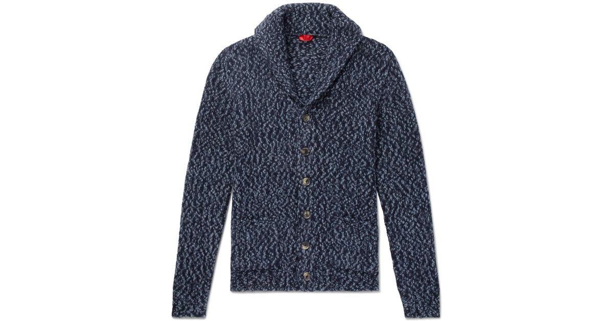 Lyst - Isaia Slim-fit Shawl-collar Mélange Alpaca-blend Cardigan in Blue for Men