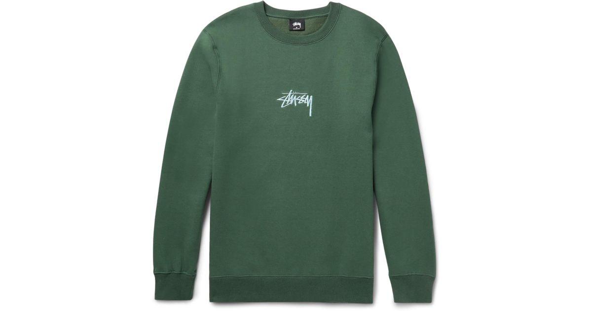 12caba226e Stussy Green Embroidered Fleece-back Cotton-blend Jersey Sweatshirt for men