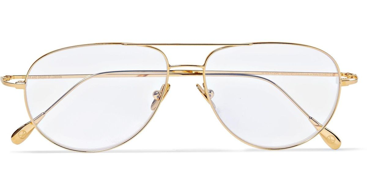 5e88df3949 Lyst - Kingsman + Cutler And Gross Statesman Aviator-style Gold-tone  Optical Glasses in Metallic for Men