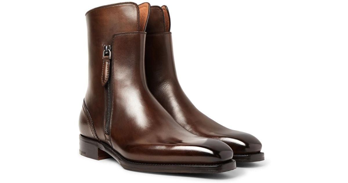 93d1f008 Ermenegildo Zegna Brown Polished-leather Boots for men