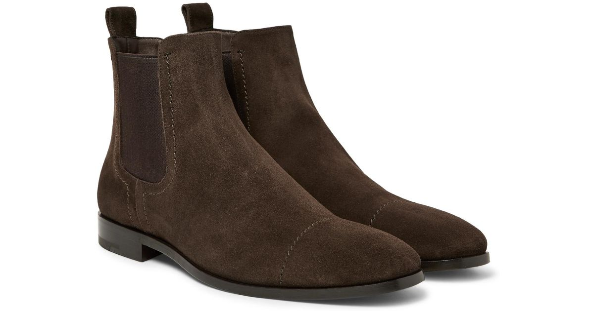 083079d5 Ermenegildo Zegna Brown Cap-toe Suede Chelsea Boots for men