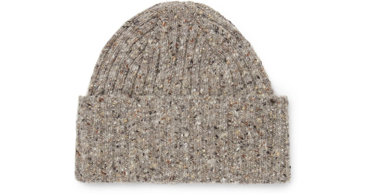 Lyst - Drake s Ribbed Donegal Merino Wool Beanie in Natural for Men cda55e558c2