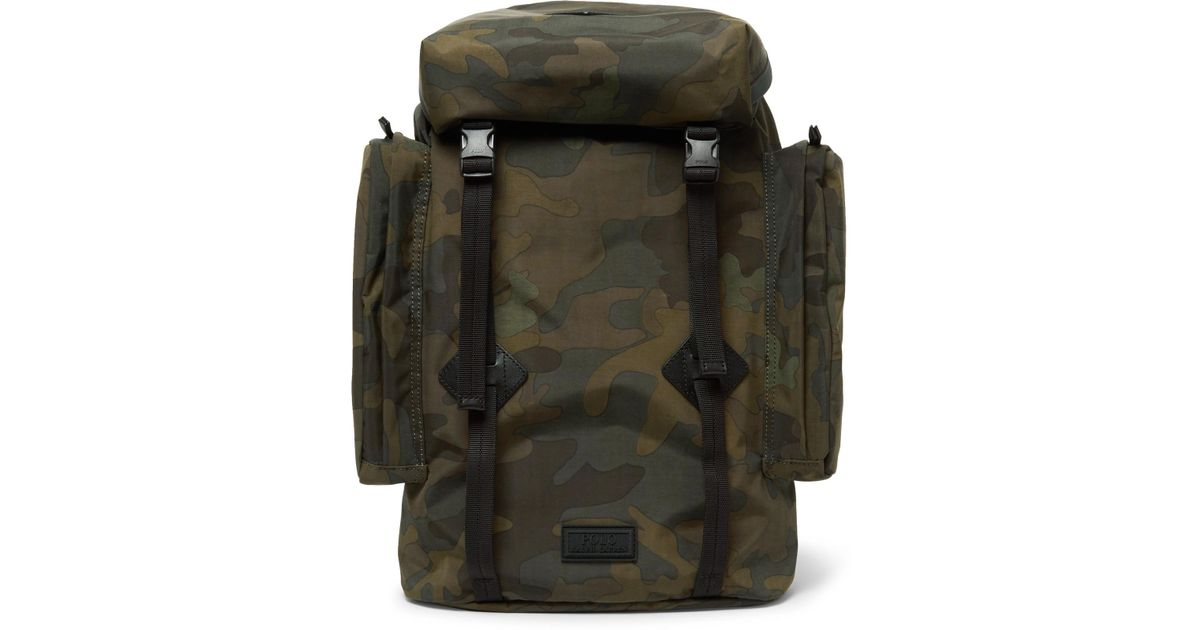 b7c9544d7a5 Lyst - Polo Ralph Lauren Leather-trimmed Camouflage-print Canvas Backpack  in Green for Men