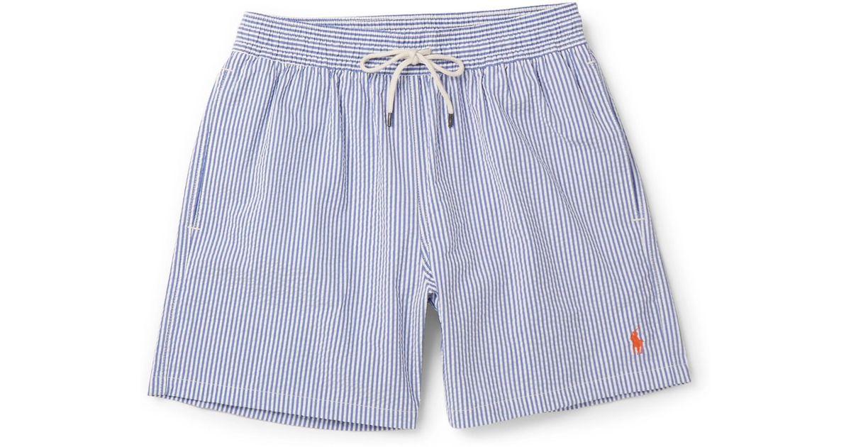 5b237e742f Polo Ralph Lauren Mid-length Striped Cotton-blend Seersucker Swim Shorts in  Blue for Men - Lyst