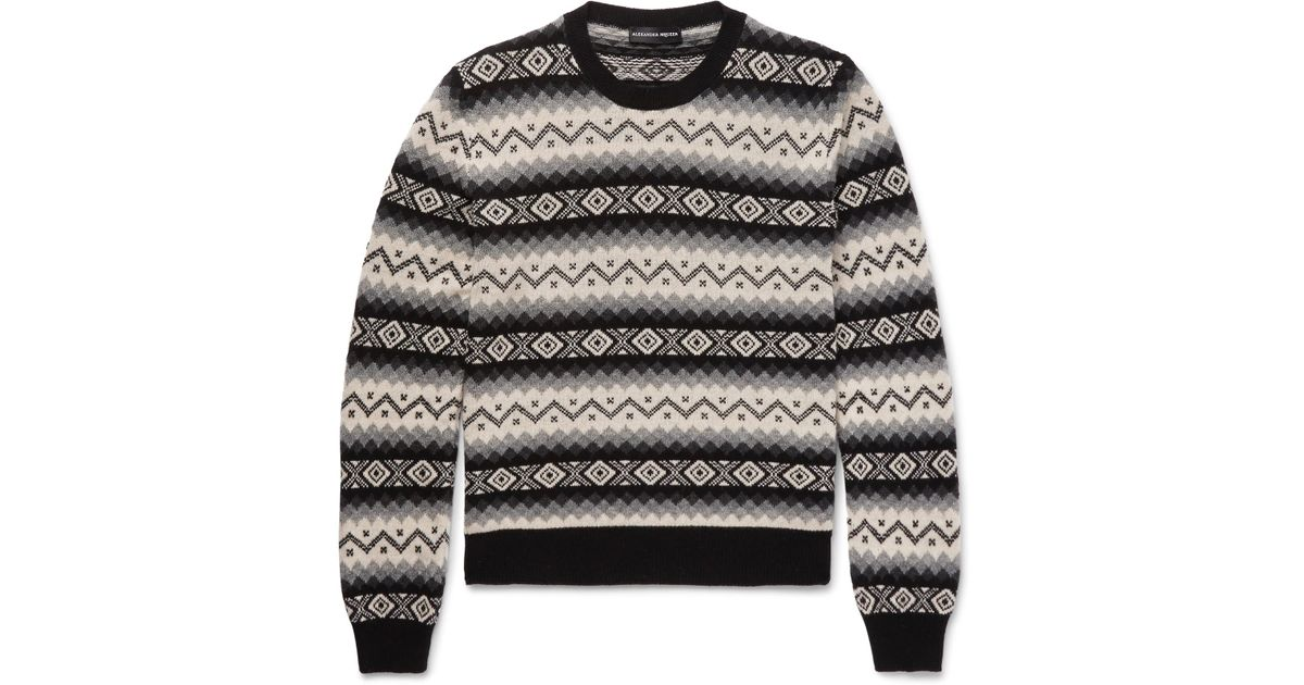 Lyst - Alexander mcqueen Fair Isle Cashmere Sweater in Black for Men
