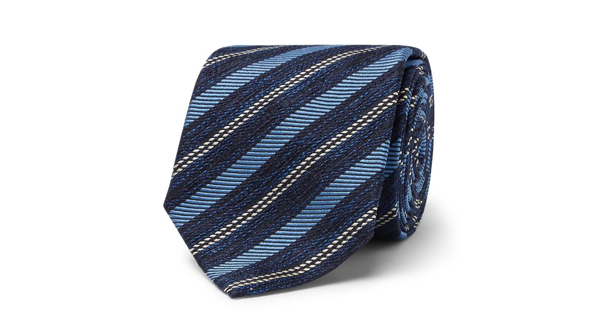 7cm Striped Textured-silk Tie Ermenegildo Zegna ktpz2H0jt