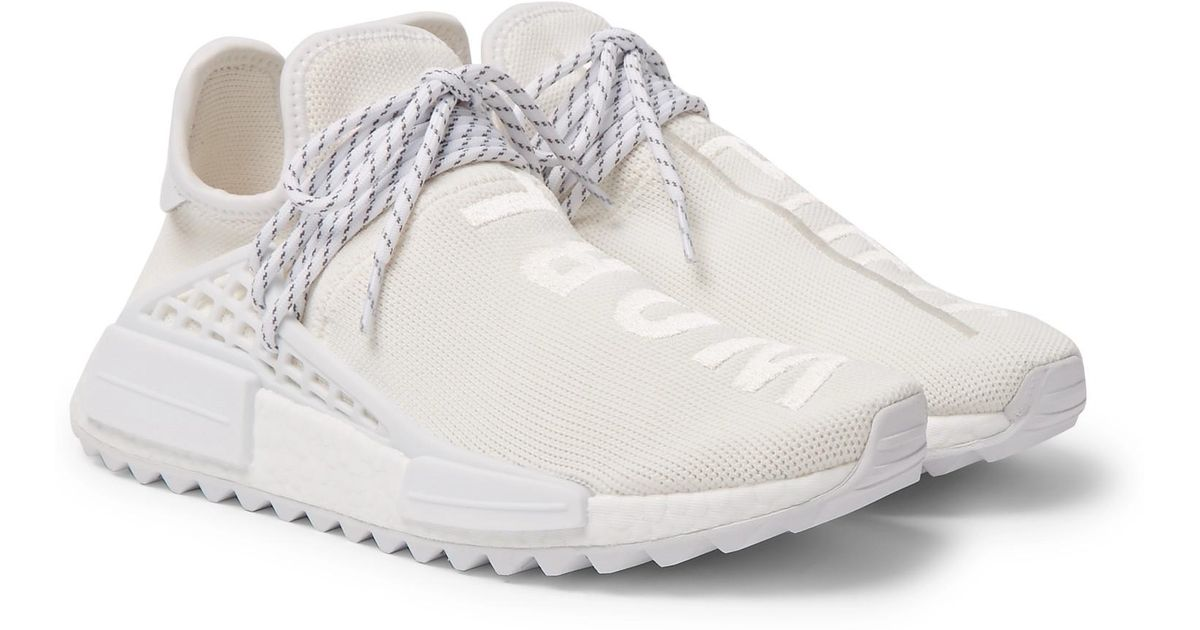 best service 8bf0c 72ffb Adidas Originals White + Pharrell Williams Nmd Hu Trail Primeknit Sneakers  for men