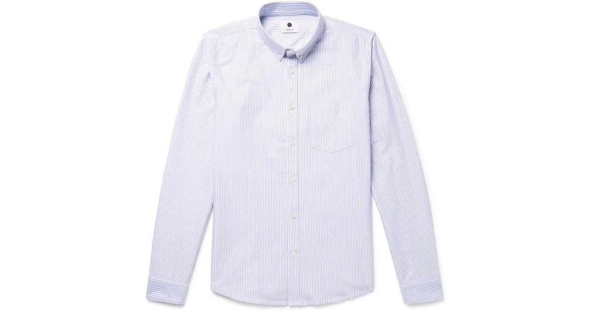NN.07 Sixten Slim-fit Button-down Collar Striped Cotton Oxford Shirt - Blue OSRvEgZ