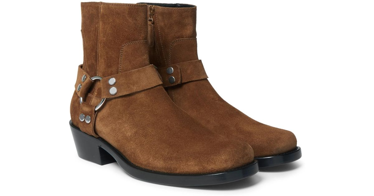 6b628749a98d Lyst - Balenciaga Suede Harness Boots in Brown for Men