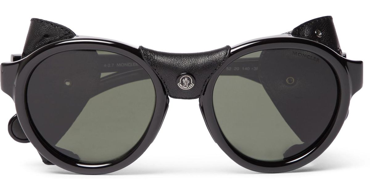 Lyst Frame Acetate Trimmed Round Moncler Polarised Leather r4xpqHrFw