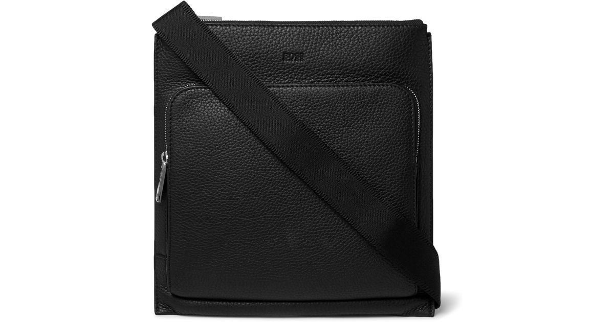 7aac57c96f BOSS Crosstown Full-grain Leather Messenger Bag in Black for Men - Lyst