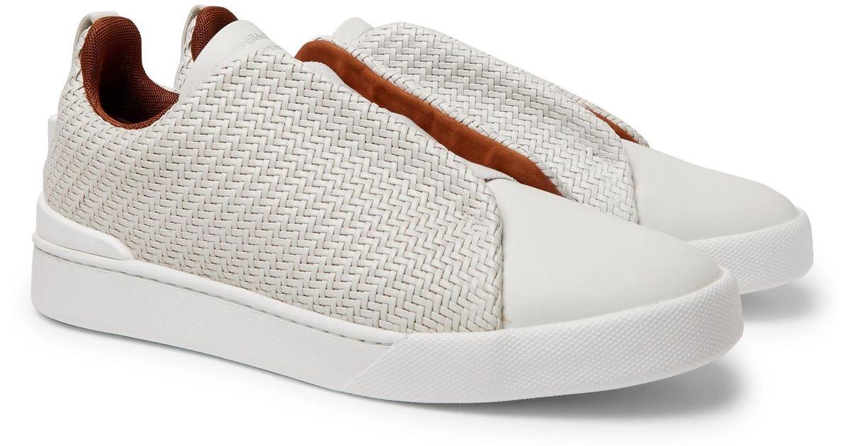 7d8b0064 Ermenegildo Zegna White Triple Stitch Pelletessuta Leather Slip-on Sneakers  for men