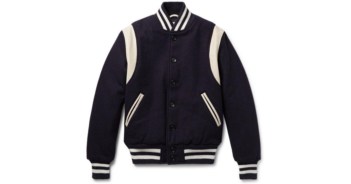 477c9ddccf4c Lyst - Golden Bear Leather-panelled Virgin Wool-blend Bomber Jacket in Blue  for Men