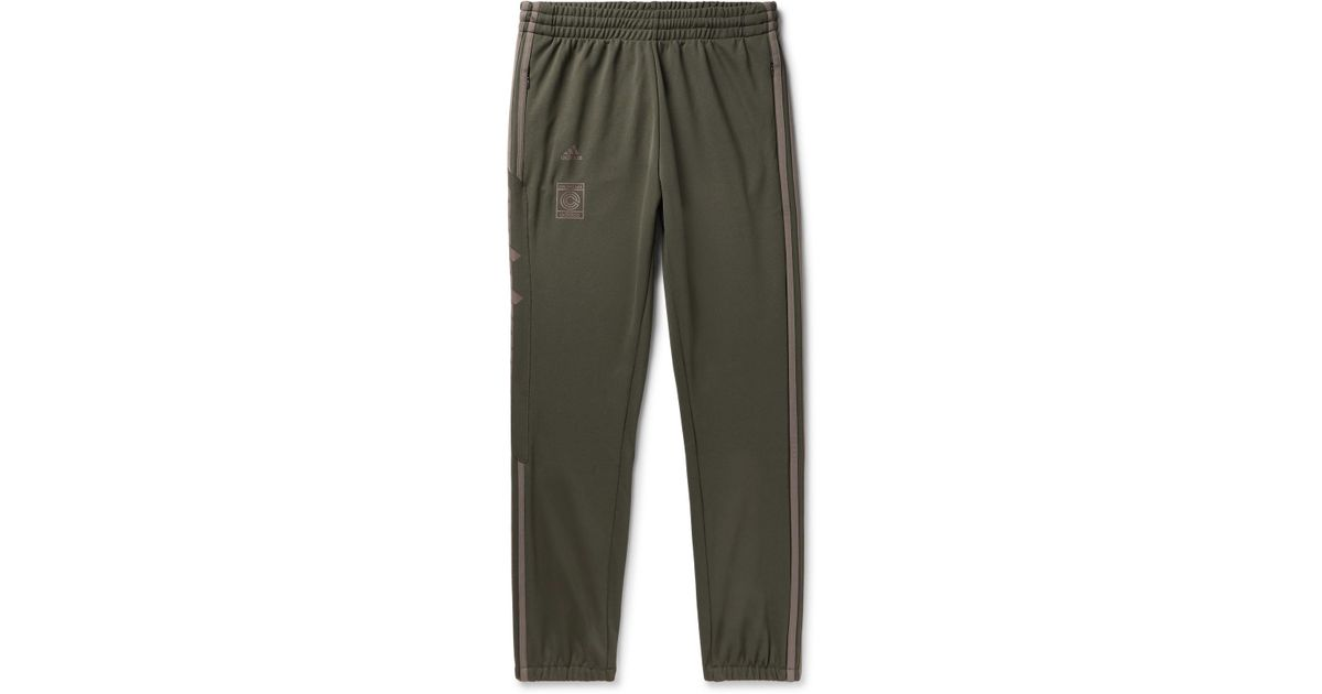23677ab7d3f18 adidas Originals + Yeezy Calabasas Slim-fit Tapered Striped Jersey  Sweatpants in Green for Men - Lyst