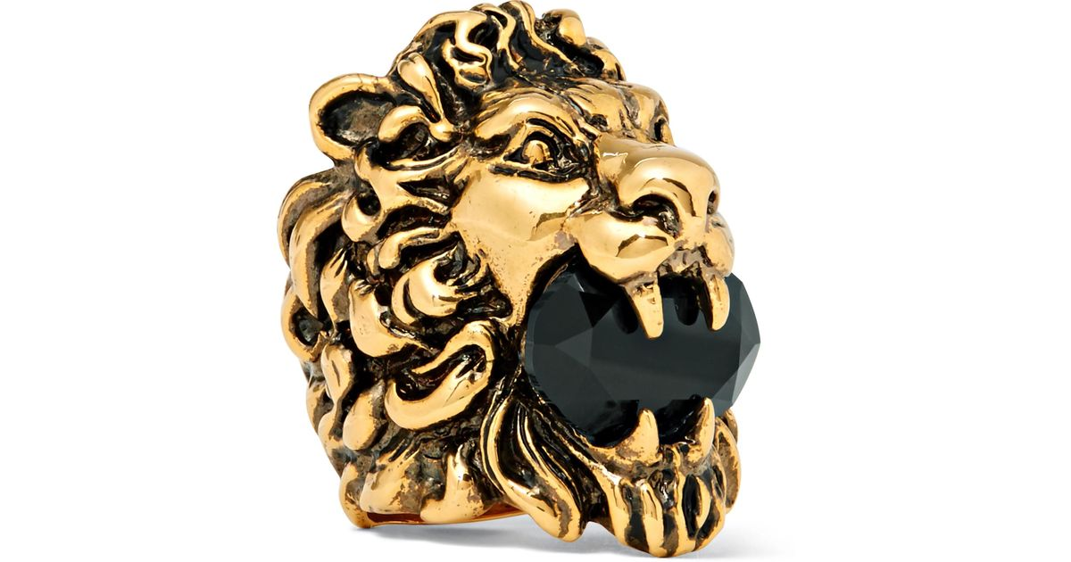 5648ce4bd8d Gucci Lion s Head Burnished Gold-tone Swarovski Crystal Ring in Metallic  for Men - Lyst