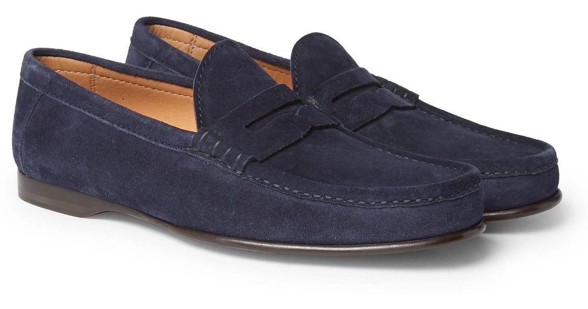 Ralph Lauren Purple Label Suede Penny Loafers in Navy ...