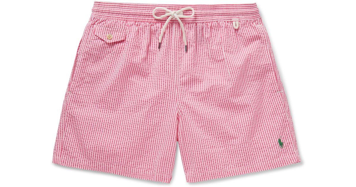 afc9964dda ... best price lyst polo ralph lauren traveler striped seersucker swim  shorts in pink for men 2cf0f