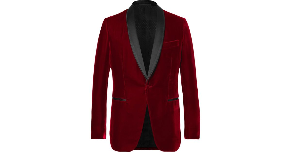 d8c3a4a48a7 Berluti Red Satin-trimmed Velvet Tuxedo Jacket in Red for Men - Lyst