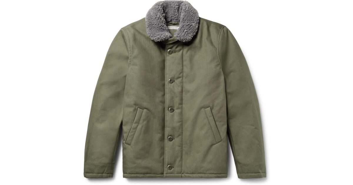 13be1e15a Outerknown Green Hunter Faux Shearling-lined Dwr-coated Organic  Cotton-canvas Coat for men