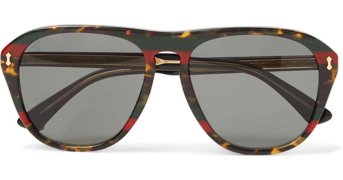 e68518a484b5 Gucci Aviator-style Tortoiseshell Acetate Sunglasses in Brown for Men - Lyst