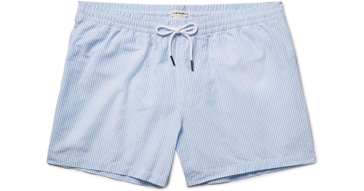 e06d28bbcc Club Monaco Arlen Slim-fit Mid-length Seersucker Swim Shorts in Blue for  Men - Lyst