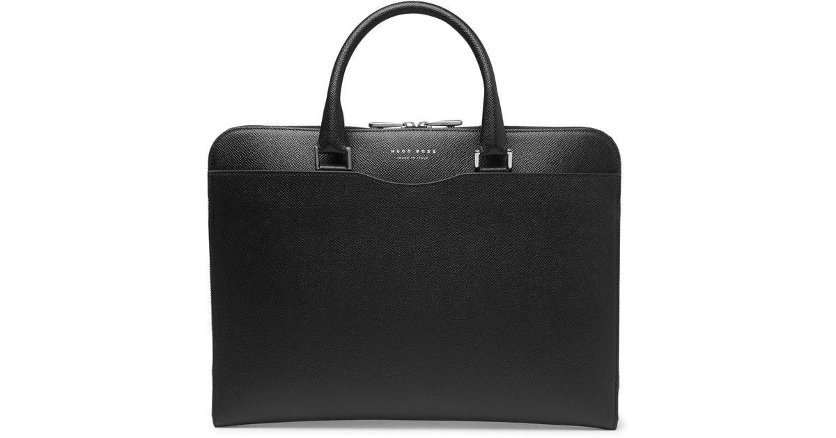 Lyst - BOSS Signature Slim Cross-grain Leather Briefcase in Black for Men d786864c5dd36