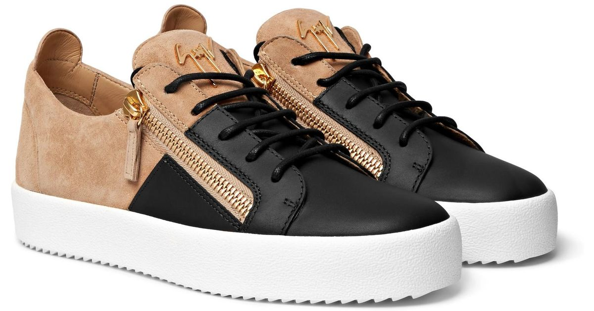 bc30f75b1bc8 Giuseppe Zanotti Logoball Two-tone Suede And Leather Sneakers in Black for  Men - Lyst