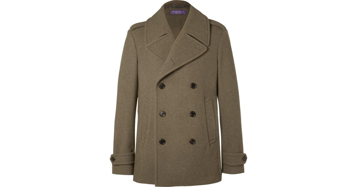 popular stores aesthetic appearance wholesale sales Ralph Lauren Purple Label Green Warrington Felted Wool Peacoat for men