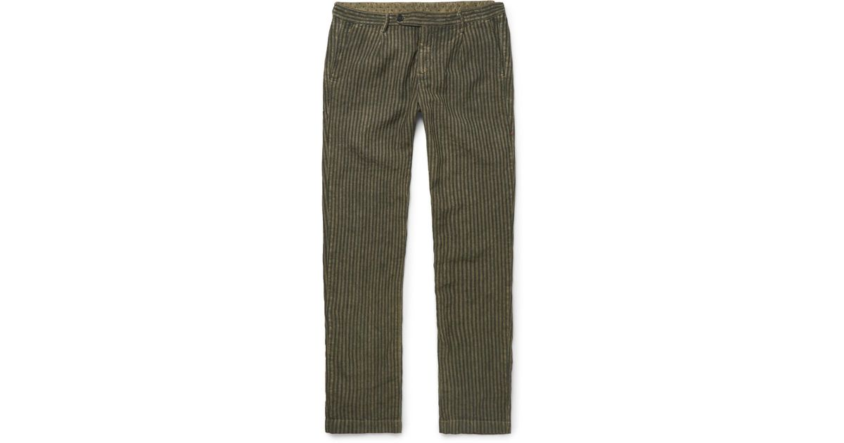 MASSIMO ALBA Watercolour-dyed Striped Linen Trousers - Gray