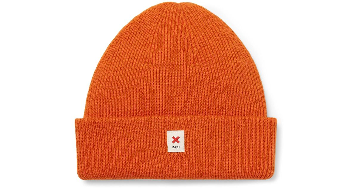 92ab9b04ad736 Best Made Company Orange Cap Of Courage Ribbed Merino Wool Beanie for men
